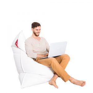 Sitzsack Kunstleder weiss