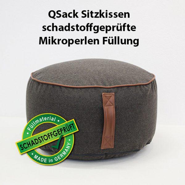 QSack Sitzkissen Pouf rund Mikroperlen EPS schadstoffgeprüft