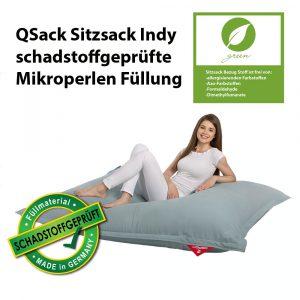 QSack Sitzsack Indy blaugrau schadstoffgeprüfte mikroperlen Füllung