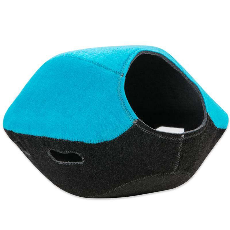Katzenhöhle blau-grau mit Spielöffnung