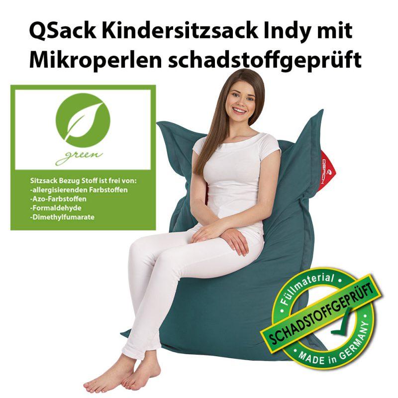 QSack Kindersitzsack Indy schadstoffgeprüft petrol