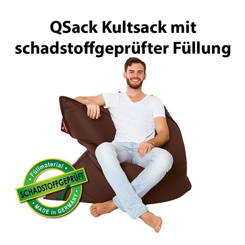 QSack Kultsack Kunstleder Sitzsack schadstoffgeprüft dunkelbraun