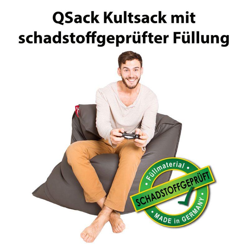 QSack Kultsack Kunstleder Sitzsack schadstoffgeprüft dunkelgrau