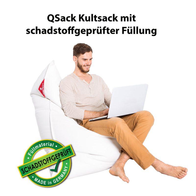 QSack Kultsack Kunstleder Sitzsack schadstoffgeprüft weiß