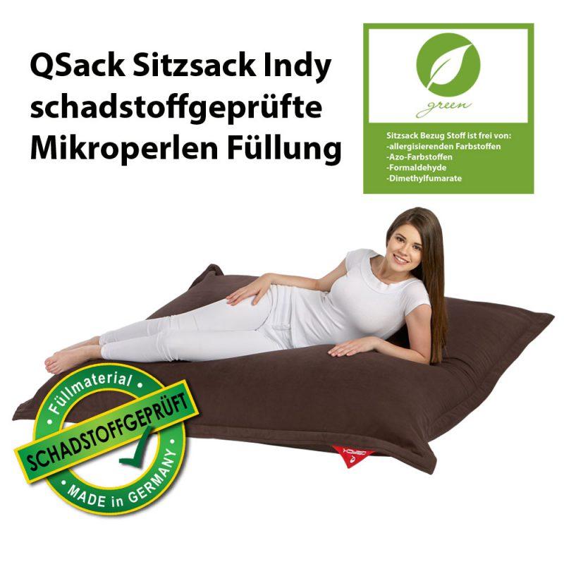 QSack Sitzsack Indy dunkelbraun schadstoffgeprüft Mikroperlen Füllung