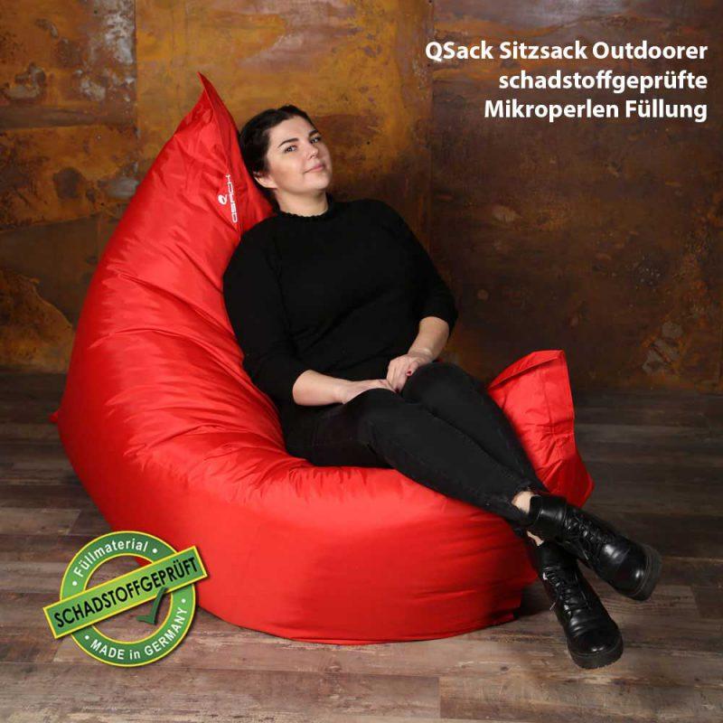QSack Sitzsack Outdoorer schadstoffgeprüfte Füllung Sitzsack rot