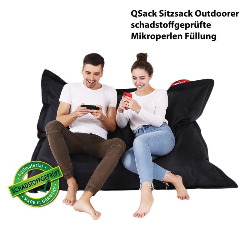 QSack Sitzsack Outdoorer schwarz schadstoffgeprüft