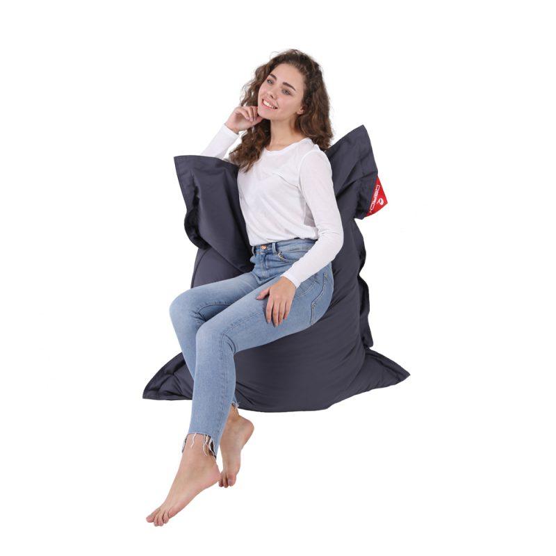 QSack Traum Kinder Sitzsack Baumwolle dunkelgrau