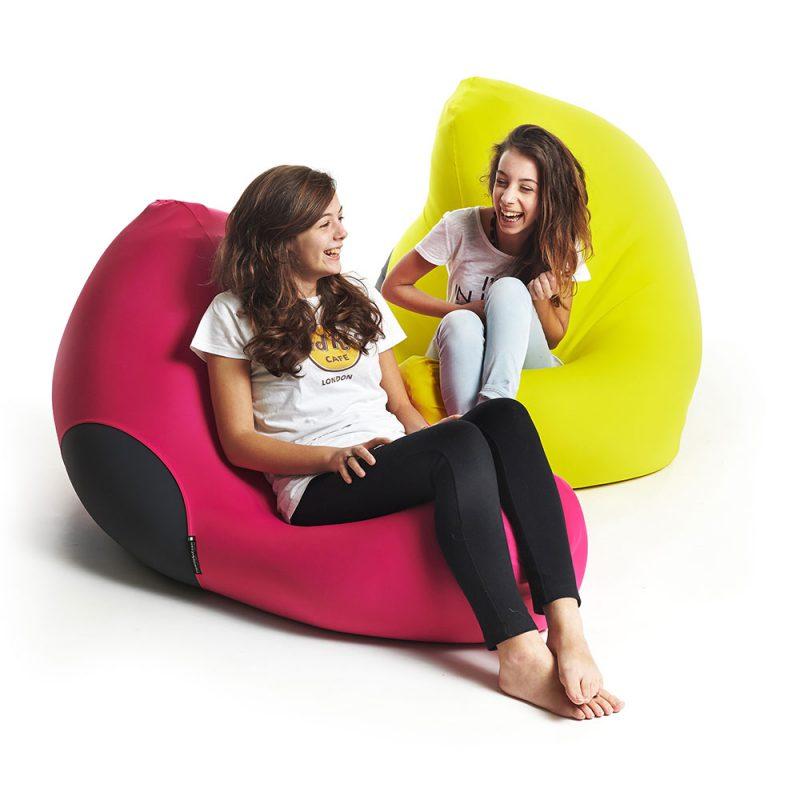 X Pouf X-Shark Indoor Sitzsack gelb und pink